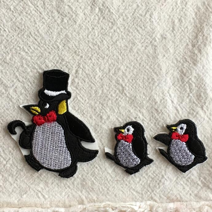 ペンギン刺繍行進[シルクハット]ワッペン3組セット2