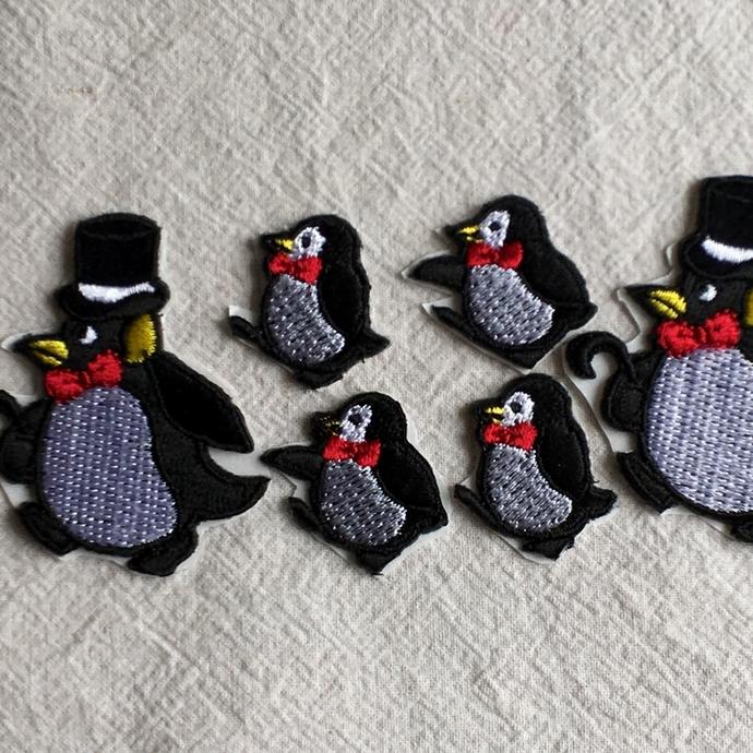 ペンギン刺繍行進[シルクハット]ワッペン行進親子