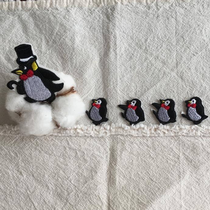 ペンギン刺繍行進[シルクハット]ワッペン親きんとうん