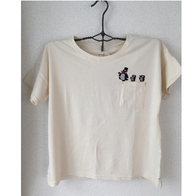 ペンギン行進[シルクハット]刺繍Tシャツハンガー全体