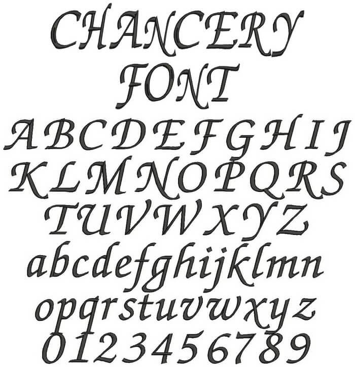 アルファベット・chancery書体のフォントイメージ
