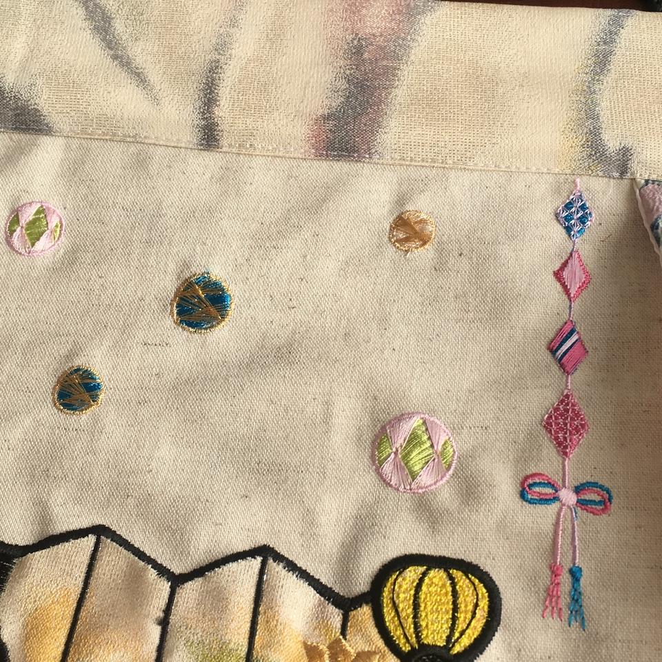 お雛様刺繍タペストリー/装飾上毬