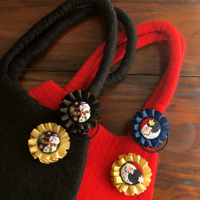 スノーマンスノー刺繍ロゼットフェルトバックムーンサンタとペア