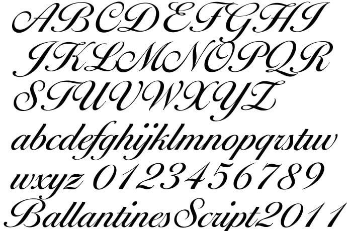 刺繍文字【Ballantines Script(バランタイン・スクリプト)】書体のアルファベットと英数字のフォントイメージ
