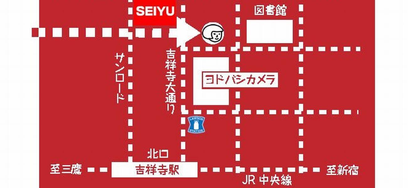 吉祥寺駅とメヌイアンの簡易地図