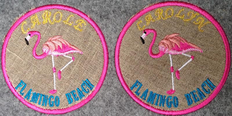 ピンクフラミンゴの刺繍図案で制作したオリジナルワッペン