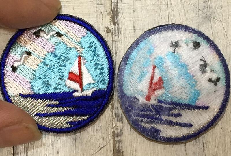 ヨットの刺繍ワッペンの裏表