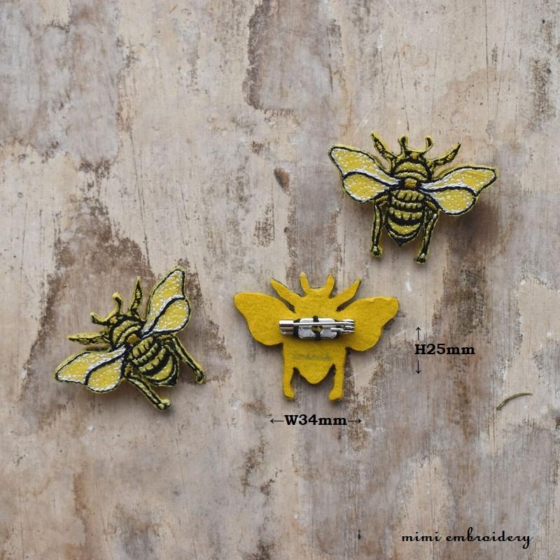 ミツバチ刺繍ブローチサイズ表示