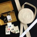 リボン刺繍ネームタグ[イニシャル]12枚セット
