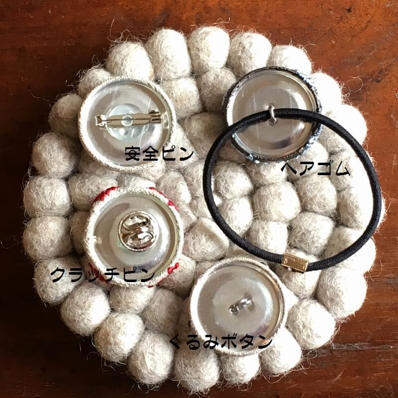 ハリネズミ29刺繍ボタン背面加工