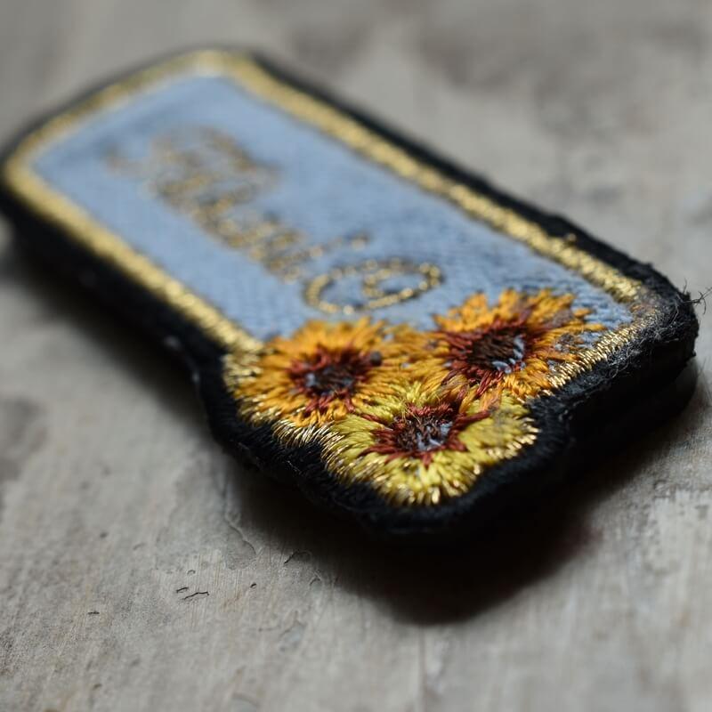 ミニマム向日葵刺繍ネ-ムプレ-トアップ