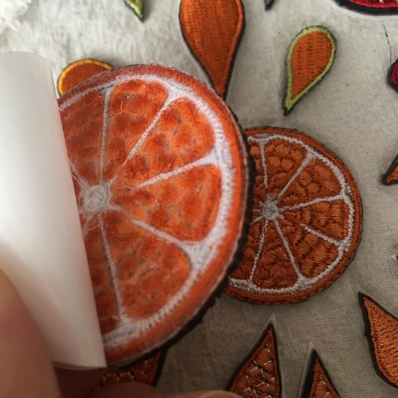 刺繍ワッペン/オレンジ背面加工