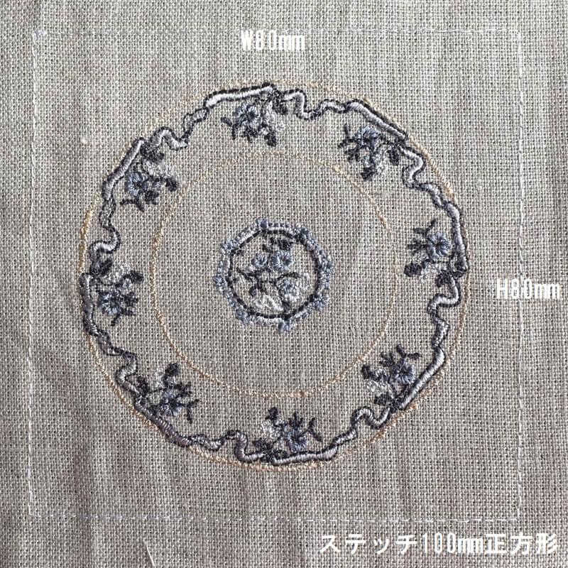 プレートフラワーリボン刺繍サイズ