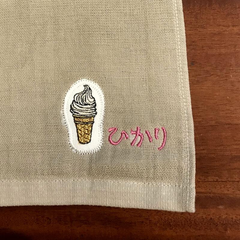 ソフトクリーム刺繍ハンカチ