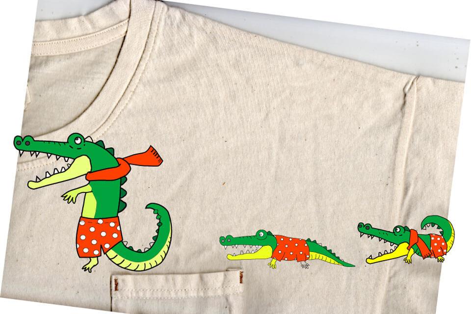 Tシャツとワニのワッペンデザインを重ねたイメージ