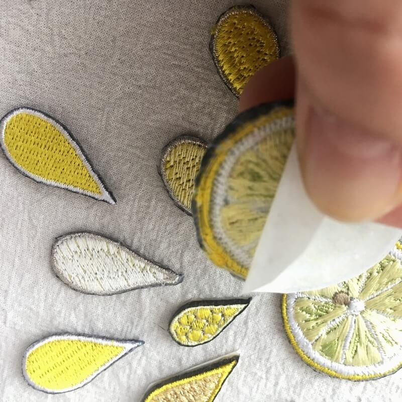 刺繍ワッペン/レモン背面加工