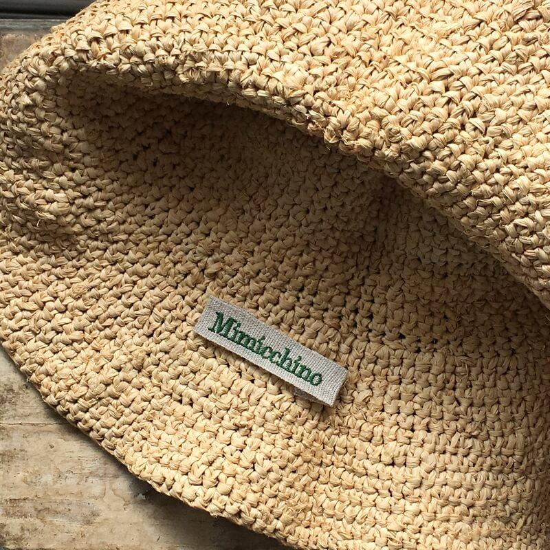 リネン麻:刺繍ネームabc帽子