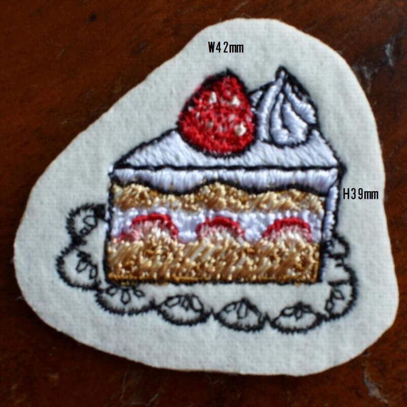 イチゴショートケーキ刺繍サイズ