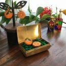 オレンジ刺繍イヤリング&ピアス