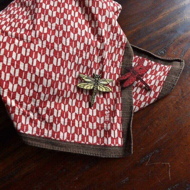 トンボ刺繍ブローチ和テイスト