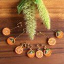 フルーツ刺繍イヤリング&ピアス[オレンジ]