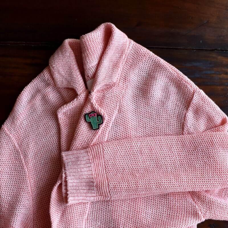サボテンメガネ刺繍ピンジャケット