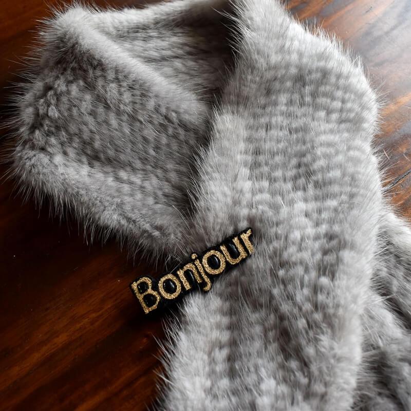 ボンジュール[Bonjour]刺繍クリップミンク