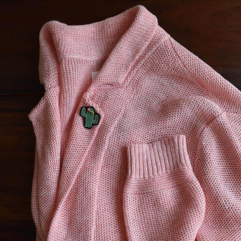 サボテンサンゴ刺繍ピンジャケット