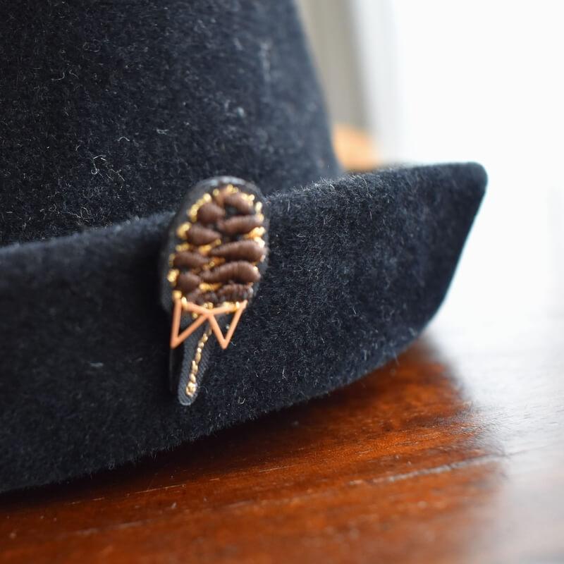 松ぼっくりLadies&Gentleman刺繍ピン帽子