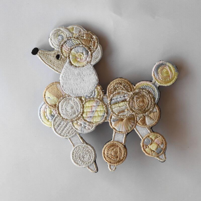 プードル刺繍ブローチwhite1p