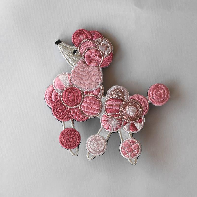 プードル刺繍ブローチPink1p