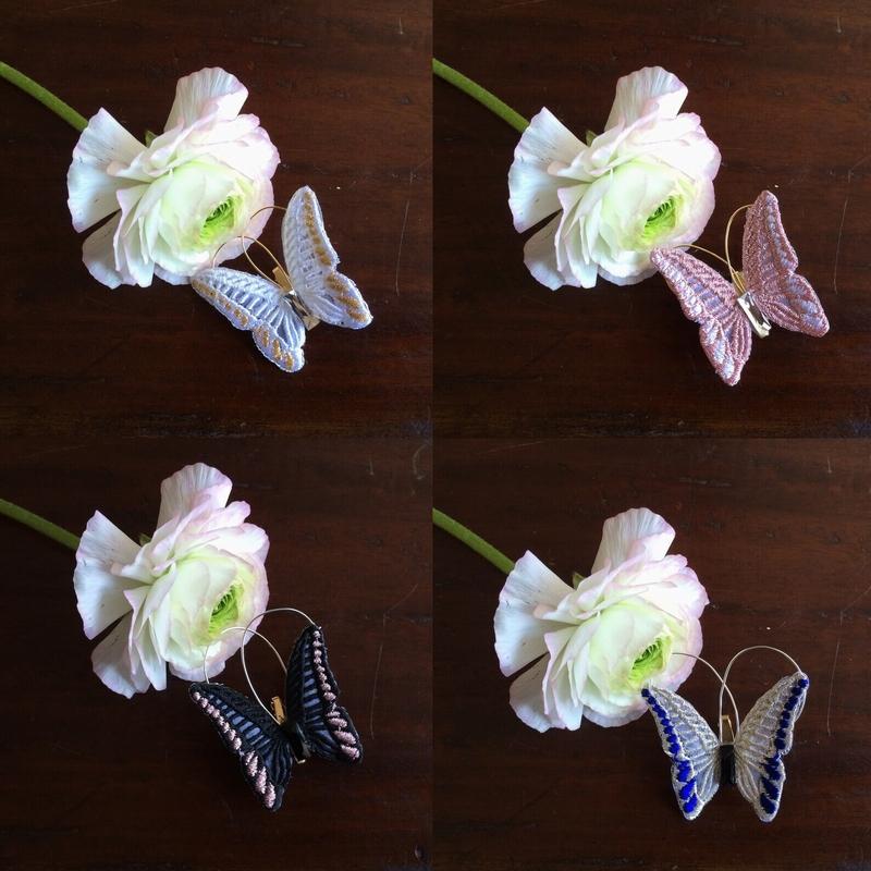 蝶々刺繍ブローチ一輪