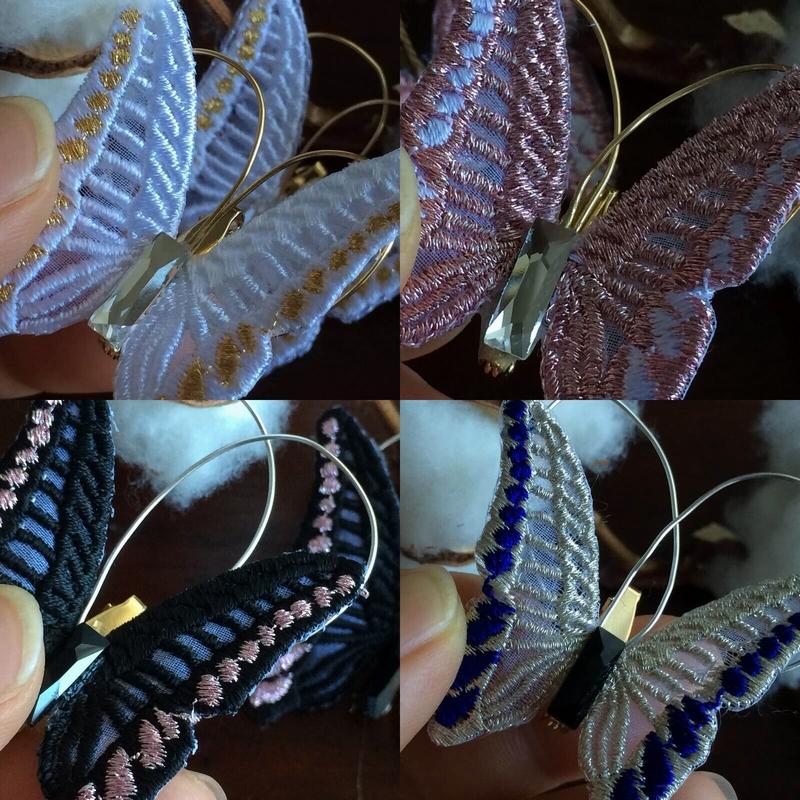 蝶々刺繍ブローチビーズ