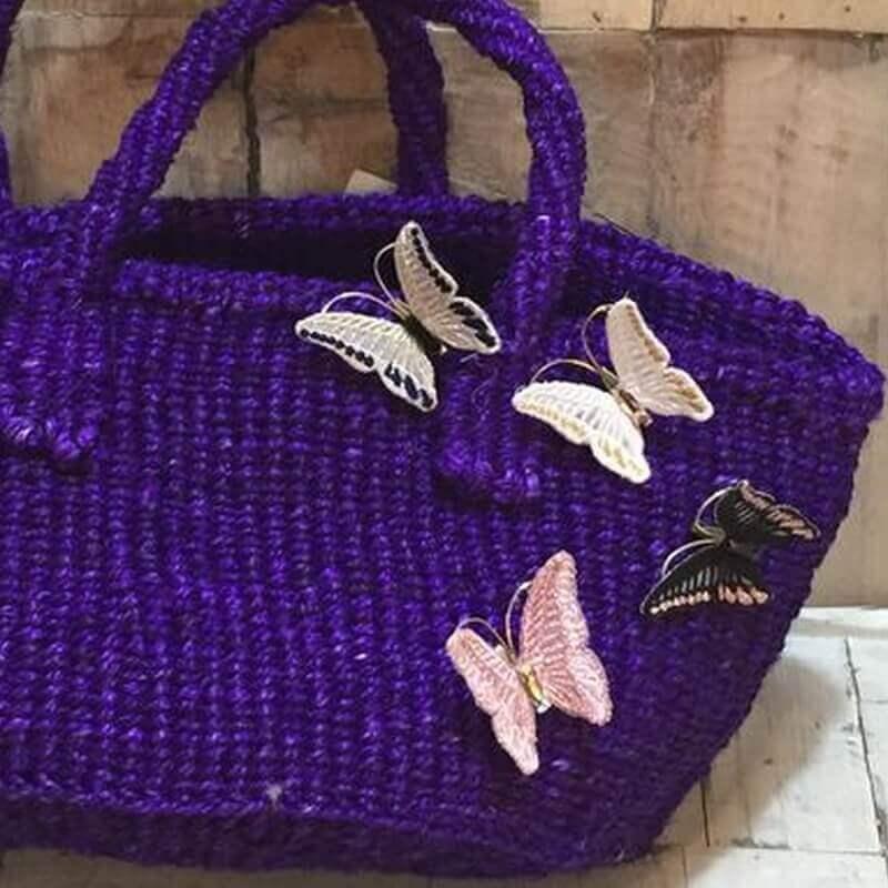 蝶々刺繍ブローチ麻バック