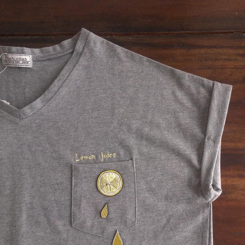 刺繍ワッペン/レモンTシャツ
