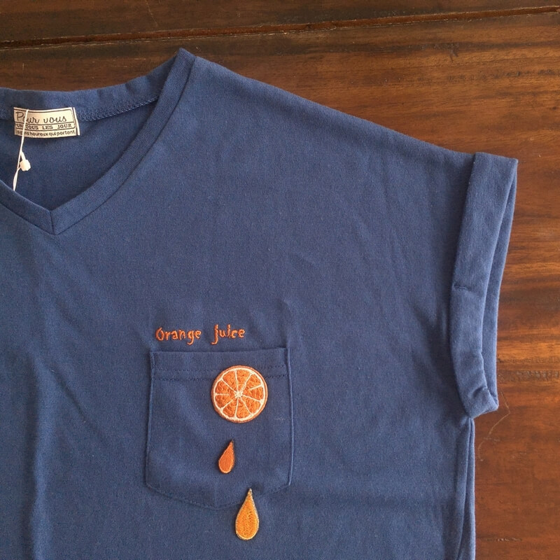 刺繍ワッペン/オレンジTシャツ
