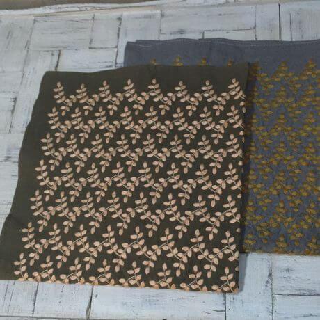 リーフフラワー刺繡ハンカチーフINDIA2C