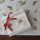リネンハンカチ[バードウォッチング]ネーム刺繍名入れギフト