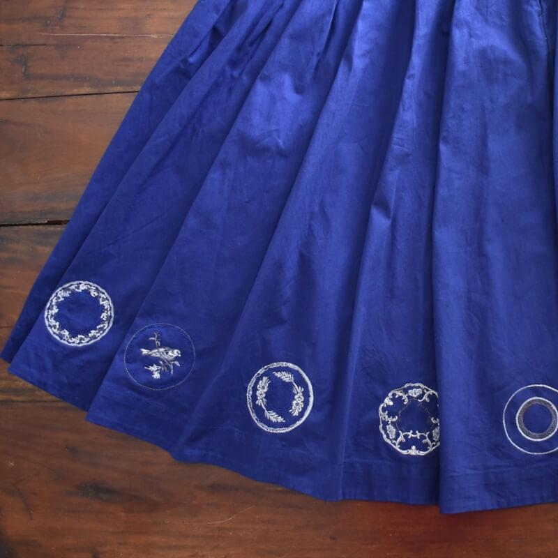 プレートロイヤル刺繍スカートブルー