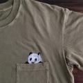 のぞくパンダ刺繍Tシャツひらおき
