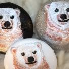 白熊ママ[ピンク]刺繍ボタン/アップ3種