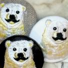 白熊パパ[黄]刺繍ボタン/ アップ3種