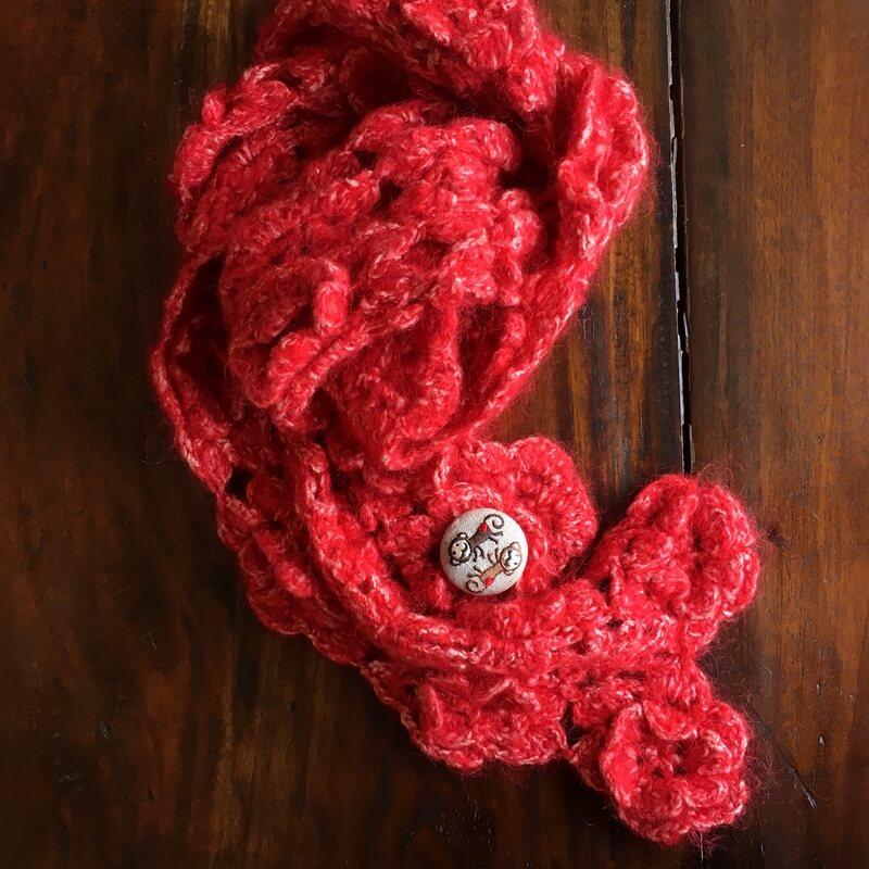 おさる38刺繍くるみブローチマフラー