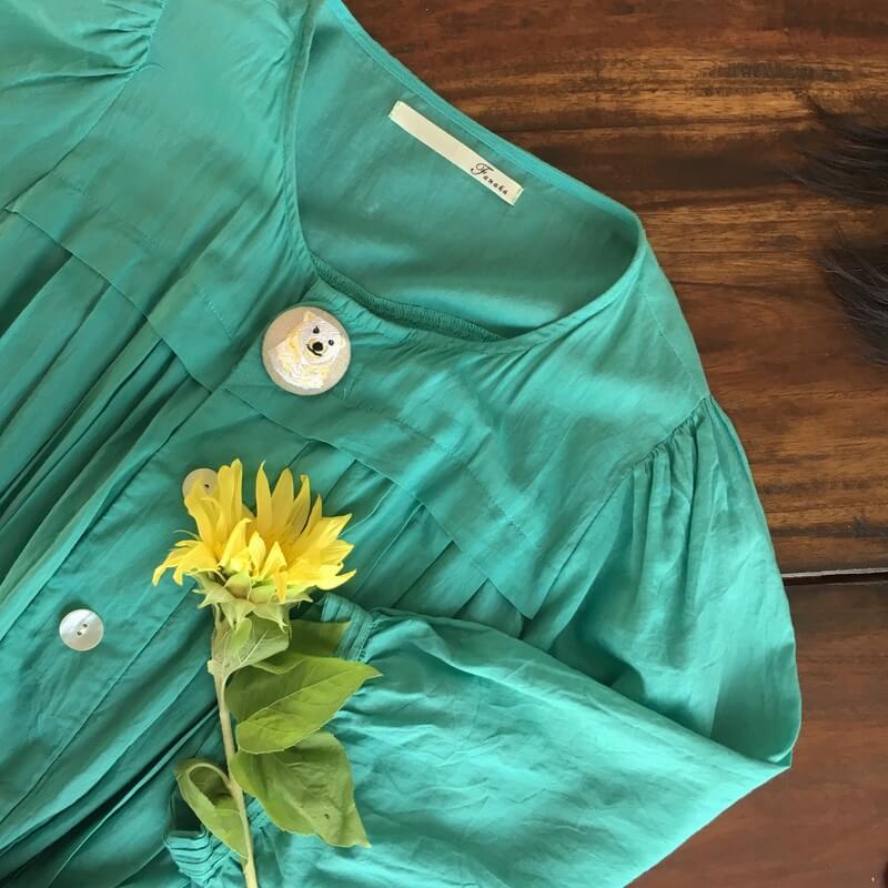白くまママ刺繍くるみボタン38mm花とワンピース