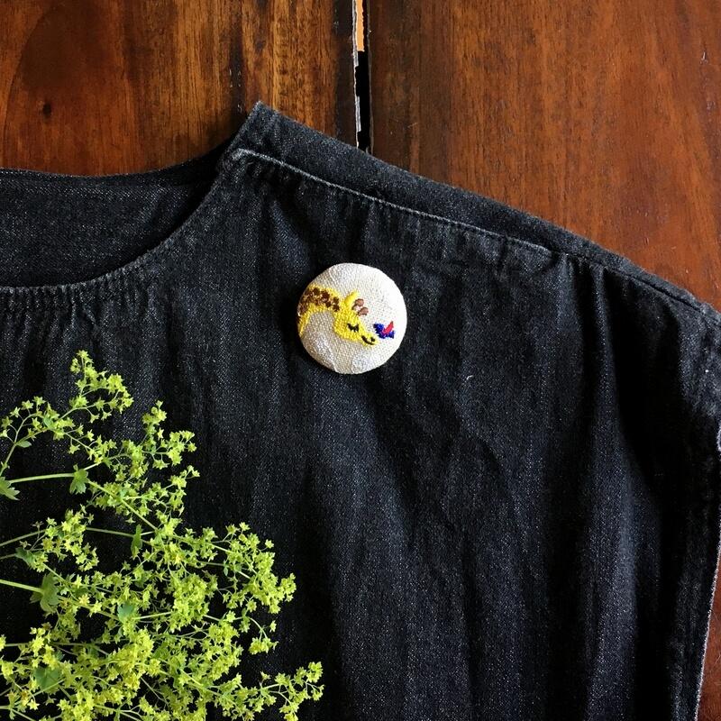キリンと小鳥刺繍くるみ38ワンピース