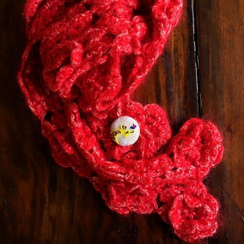 キリンと小鳥刺繍くるみ38マフラー