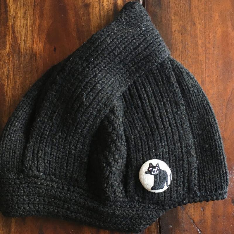 猫スマイル刺繍くるみ38帽子