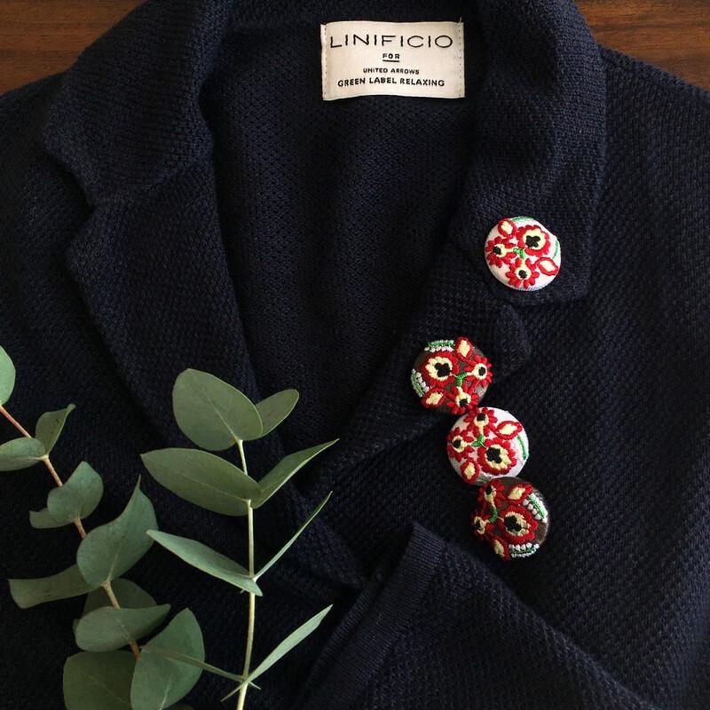 ハンガリー実と花29刺繍ボタンジャケット