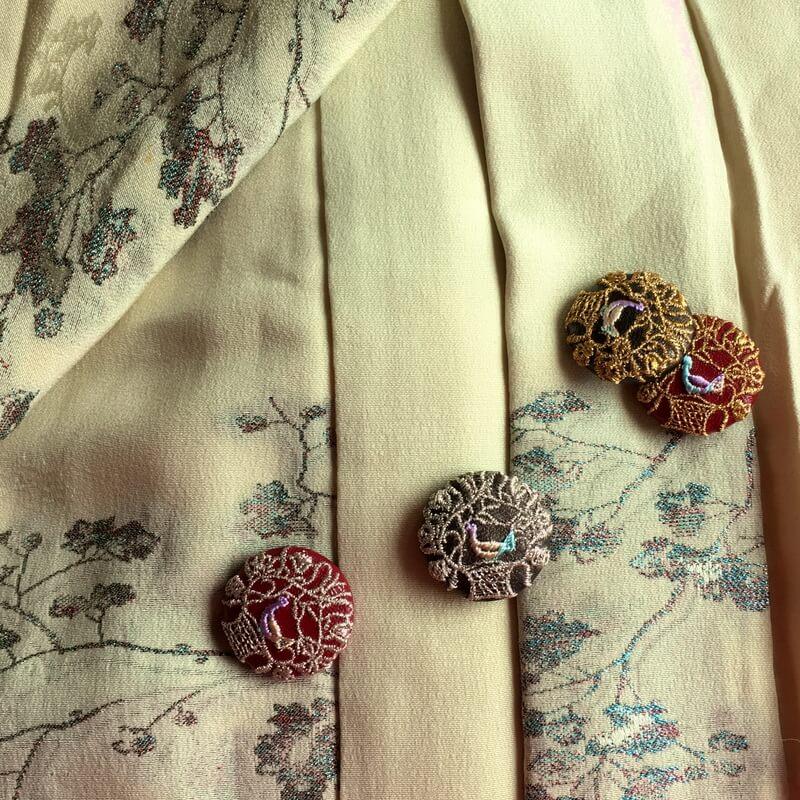 ハンガリー鳥カゴかずら29刺繍ボタン着物イメージ