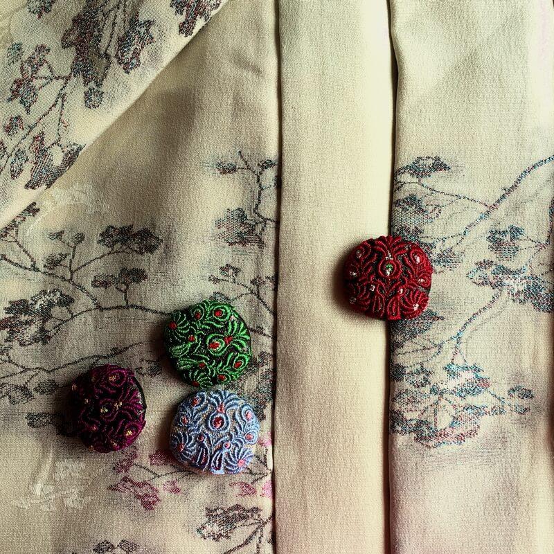 ハンガリー孔雀29刺繍ボタン着物